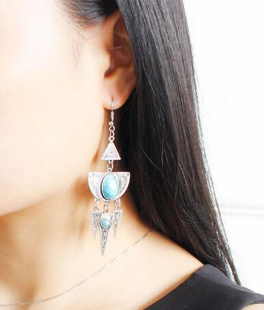 Hot Style Bohemian wind earrings fantasy color gemstone tassel pendant multi-layer earrings stylish classic exquisite elegance