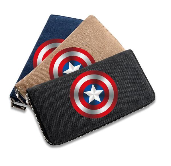 The Avengers Wallet 3 Colours Superhero Captain America Logo Long Design Zipper Purse Wallet