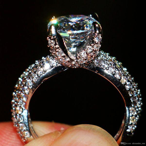 Anillos de boda vintage para mujer 14KT Joyas llenas de oro blanco Garra de dragón con incrustación 3CT Simulado Diamante CZ Pareja Anillo de piedras preciosas