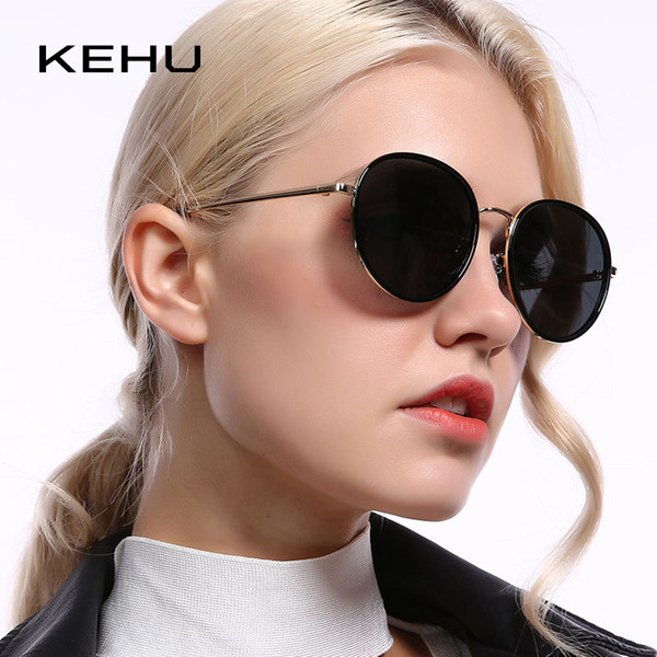 Commercio all'ingrosso di design vintage rotonda occhiali da sole polarizzati donne guida viaggi UV400 occhiali da sole signore di alta qualità tonalità KH47