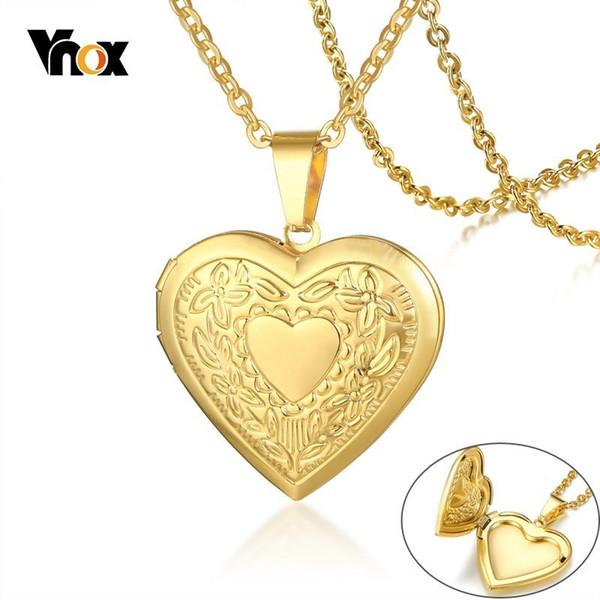 Vnox Femmes Coeur Médaillon Collier En Acier Inoxydable Cadre Photo Mémoire Romantique Amour Pendentif pour Femme Promesse Souvenir Cadeau