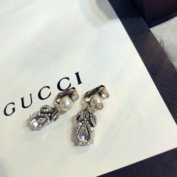 2018 New Women's Jewelry Leaf Pearl Ear Clip Earrings Wild And Elegant Beautiful Charm Full Of Temperament High-end