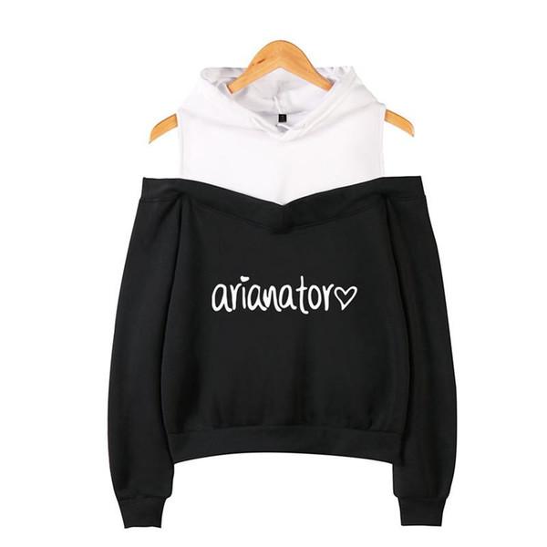 Xs-2xl Ariana Grande Com Capuz Arianator Amor Impresso Manga Longa Dentro de Lã Casuais Pullover Hoodies Out Ombro Camisola Jaqueta Top