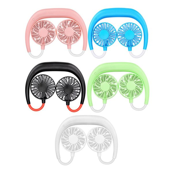 top popular 1pcs Summer Portable Hands-Free Neck Band Hands-Free Shipping Hanging USB Rechargeable Double Fan Mini Air Cooler 2021