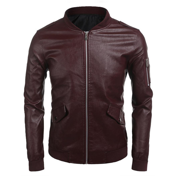 Men Bomber Jackets Long Sleeve Zip Up Faux Pocket, Rib Leather Biker Jacket Solid Casual with Pockets