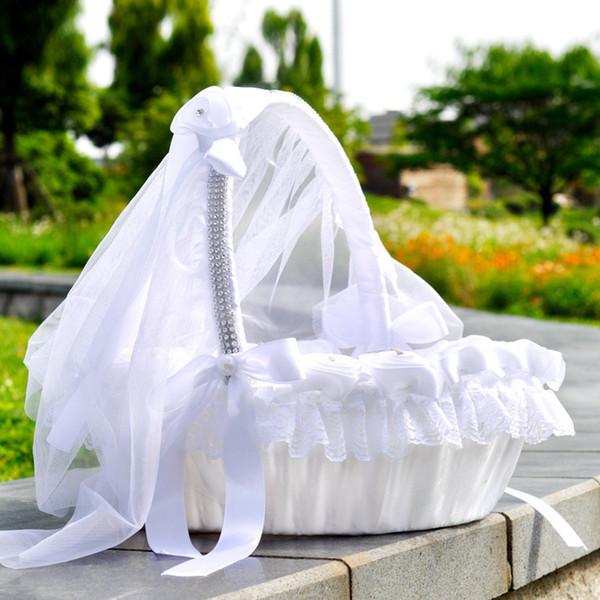 2019 Wedding Flower Baskets Flower Girl Basket Ceremony Articles Party Supplies Petal Flower Wedding Favors CPA1905