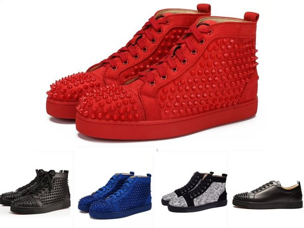 with box Brand Studded Red Sole Spikes Men Sneaker Flat shoes Mens Womens Party Lovers Genuine Leather Sneakers Trainers 36-46