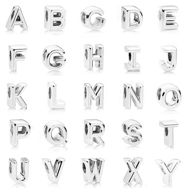 Plata de ley 925 Letra del alfabeto inicial A-Z abalorios Fit Pandora Original Charms pulsera para mujeres Diy fabricación de joyas