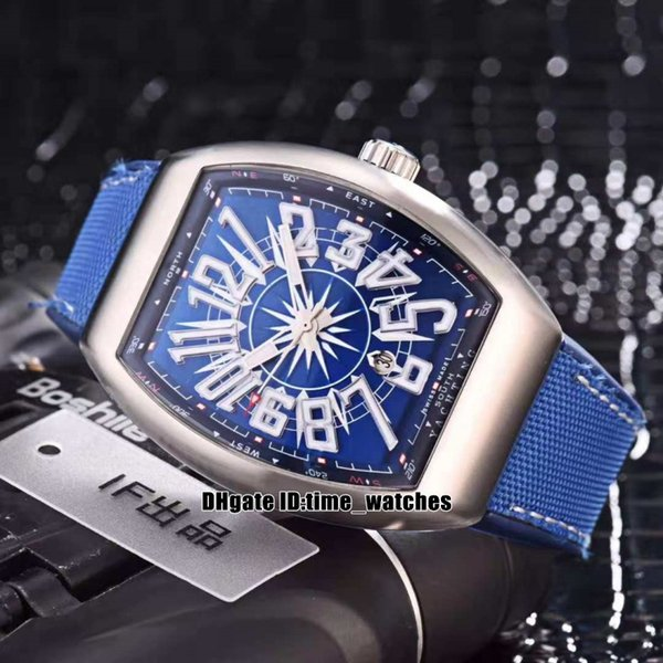 Luxury Men's Collection Stylish blue dial V45 SC DT Yachting OG Automatic mens watch high quality Gents best sport watch nylon Rubber strap