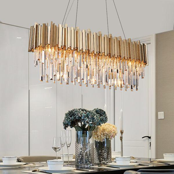 Rectangle Suspension Light Modern Crystal Chandelier Dining Room Luxury  Living Room LED Light Fixture Large Kitchen Lustre Cristal Brass Pendant ...