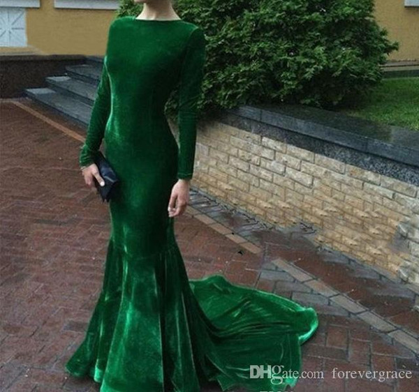2019 Cheap Hunter Green Velvet Evening Dress Arabic Long Sleeves Formal Holiday Wear Prom Party Gown Custom Made Plus Size