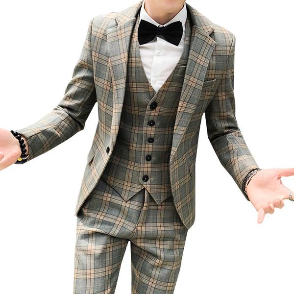 Men's British Slim Plaid Printed Suit High-end Business Groom Wedding Banquet Dress Blazer Three-Piece (Jacket + Vest + Pants)