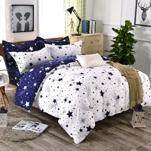 3D Bedding Sets Star/clouds Duvet Cover Blue White Grey 3/4pc Bed Sheets Single Full Queen King Size Girl Boys Geometric 18