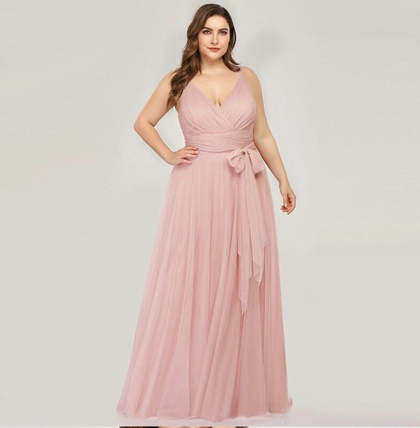Plus Size Bridesmaid Dresses Blush Pink A Line V Neck Tulle Elegant Lavande  Long Dress For Wedding Party Cheap Bridesmaid Dresses Under 50 Cheap ...