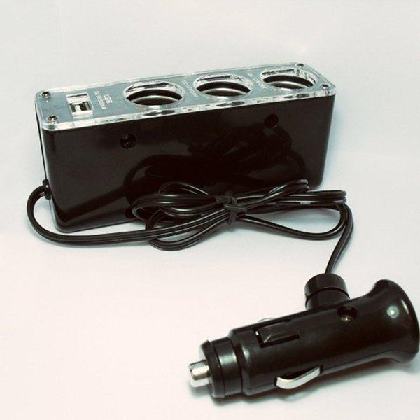 WF-096 Адаптер питания 3-портовый автомобильного прикуривателя USB гнездо и быстрая зарядка QC зарядное устройство