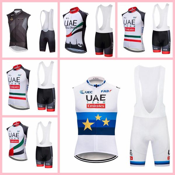 Vereinigte Arabische Emirate Abu Dhabi Team Radfahren ärmellose Trikot Weste Trägerhose setzt atmungsaktive Trend heißer Verkauf Komfortable Sport-Shirt passt X71929