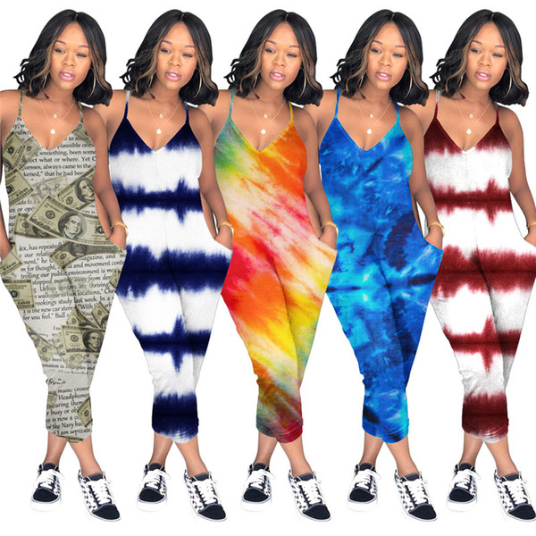 Oversized Printed Women Spaghetti Strap Long Loose Pants Jumpsuit Wide Legs V Neck Romper Sleeveless Overalls Playsuit Club Beach Wear C5903