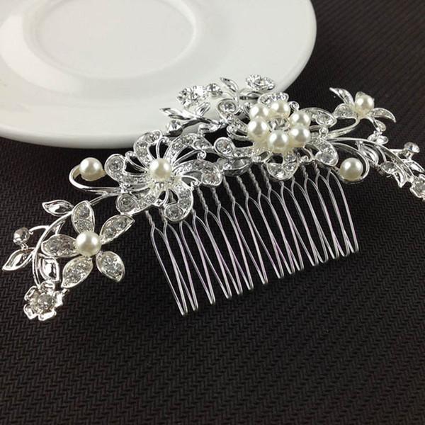 Nueva moda para mujer de plata Rhinestone nupcial boda flor perlas diadema pinza de pelo peine más caliente