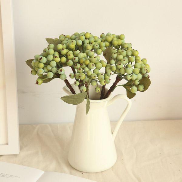 Artificial dried flower green bean branch berry simulation flower plant arrangement small berry blueberry fruit wisteria hot M3