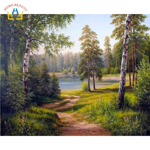 forest landscape painting by numbers modular pictures for drawing diy hand painted paints canvas prints on the wall decor RA3132