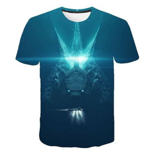 2019 Yaz Yeni erkek 3D Godzilla Canavarlar Kralı T Gömlek Moda Baskılı T-Shirt Üst Serin T-Shirt Marka Nefes Tops