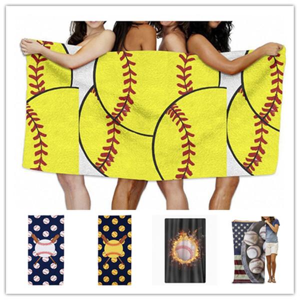 150*75cm Baseball Soccer Beach Blanket Towel Bikini Wraps Shawl Microfiber Bath Towels Softball Picnic Mat Sports Ball Table Cloth Hot B5901