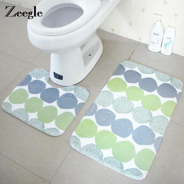 Zeegle 2PCS Geometrik Desen Banyo Halı ve Tuvalet Seti Kaymaz Banyo Mat Tuvalet Kilim Emici Banyo Zemin Halı Ayak Pedi