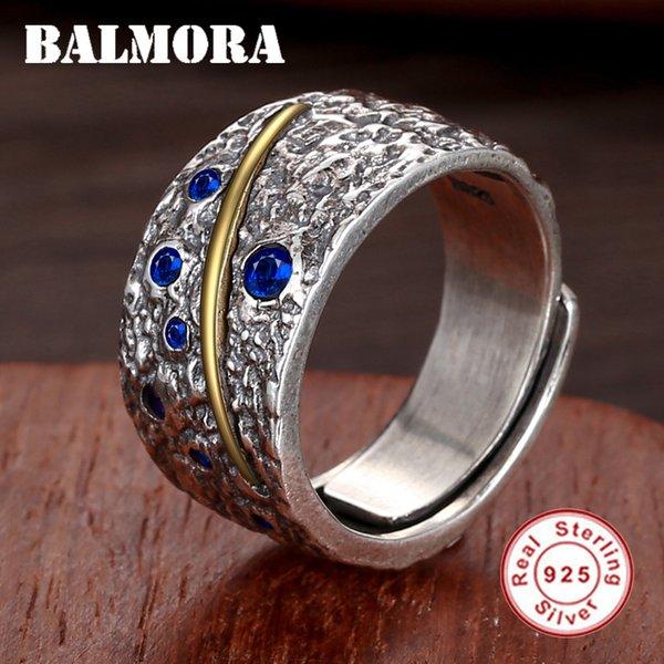 Balmora Anneaux En Argent Sterling 925 Ouvert Pour Femmes Hommes Bleu Zircon Doigt Bague Vintage Thaï Argent Bijoux De Mode Anillos Sy22213 J190721