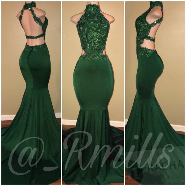 Hunter Green Mermaid Prom Dresses 2018 High Neck Lace Backless Evening Dress Cheap Formal Floor Length Party Gowns