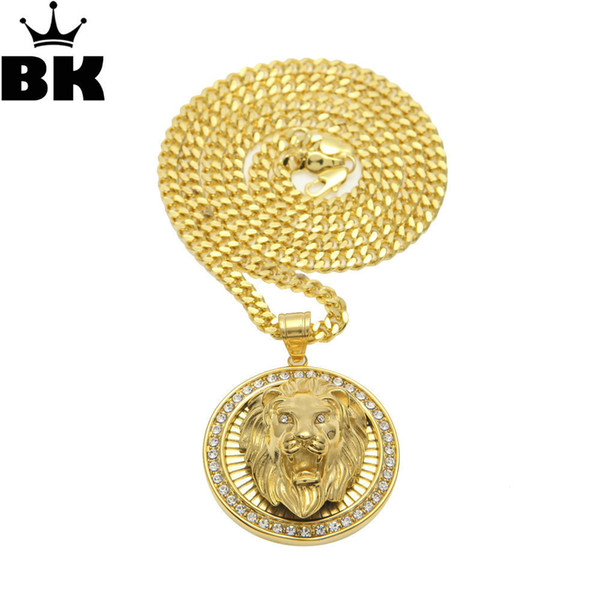 Mens Hiphop Jewelry Iced Out Gold Color Fashion Bling Bling Lion Head Pendant Men Necklace Gold Filled For Gift/present Y19050802