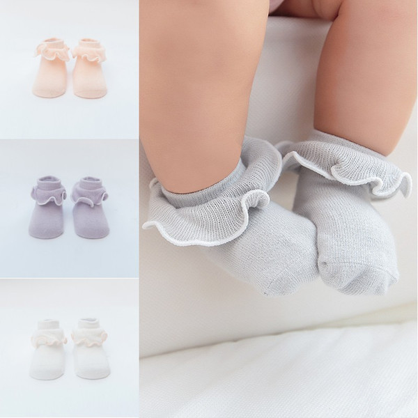 Fashion Baby Girls Fungus Agaric Lace Socks Solid Colors Infant Soft Cotton Socks Toddler Kids Short Socks