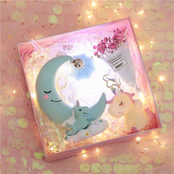 Unicorn Night Light Homedecor Girls Heart 18 Designs Creativo ornamento per la casa in resina Cartoon Regali per bambini Decorazioni per la casa Ins Regali di compleanno 08