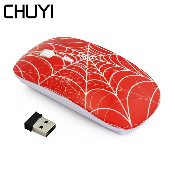 CHUYI Ultra-ince Kablosuz Fare Örümcek Web Tasarım 1600 DPI USB Optik İnce Bilgisayar Fareler Dizüstü PC Hediye Için Mause Gamer
