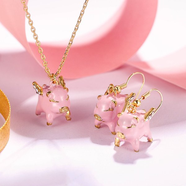Bella Fashion Pink Enamel Pig Animal Jewelry Set Party Pendant Necklace Hook Earrings Set Gold Tone For Women Dress Gift