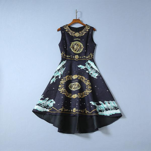 2019 Bayanlar Yeni Lüks Siyah Paisley Baskı Yuvarlak Boyun Pamuk Boncuklu Orta Buzağı Elbise Kolsuz Yüksek Düşük Pist Elbiseler 190822B2318