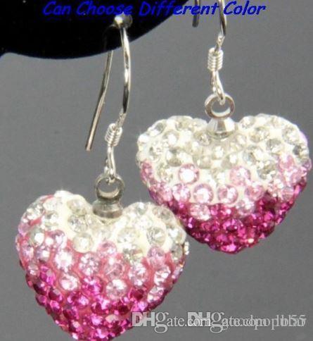 best new wedding mircro pave disco Mix Colors beads clay heart gradual change drop Dangle crystall Crystal Earrings Stud women k535 w62