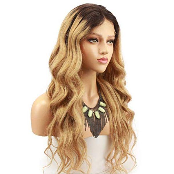 Glueless Full / Front Lace Perücken Brasilianisches Haar Ombre Farbe 1bt27 langes menschliches Haar remy neue Körperwelle