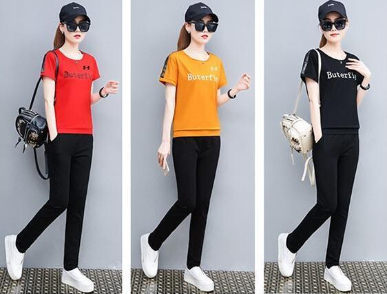 Imprimé Survêtements deux monopièce femmes Vêtements de sport Set Zipper Crop Top T-shirt + costume Pantalons Tenues d'été