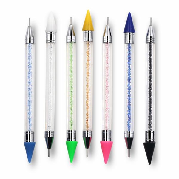 1pc Dual End Nail Art Dotting Pen Rhinestone Stud Picker Wax Pencil Crystal Beads Nails Tips Decoration Manicure Tool New Design 1pc