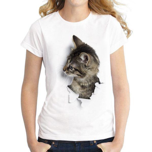 2018 Summer Women Casual Short Sleeve Cotton T Shirt Stylish Cat Print Tops Tees Female Plus Size O Neck T-Shirt Clothing