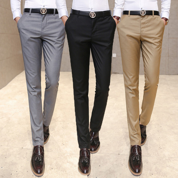 2019 Youth Mens Casual Business Pants Men Slim Solid Color Straight Suit Pants Spring And Summer Male Classic Fashion Trousers