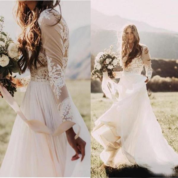 Vestidos de Casamento País Boêmio Com Sheer Mangas Compridas Bateau Pescoço Uma Linha de Renda Applique Chiffon Boho Vestido De Noiva Barato