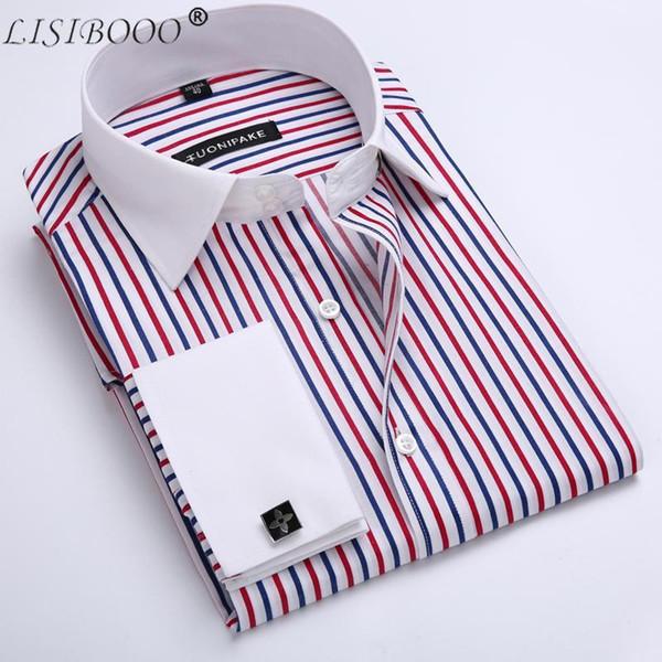LISIBOOO Erkekler Rahat Slim Fit Gömlek Erkek Uzun Kollu İş Elbise Gömlek Fransız Kol Düğmeleri Erkek Çizgili
