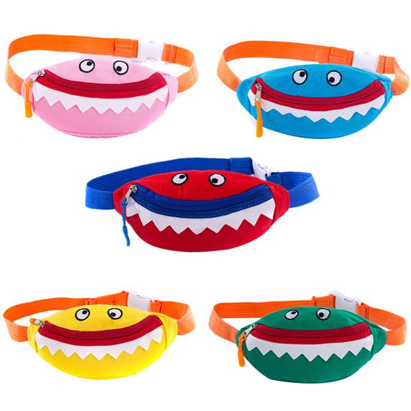 Baby Shark Funny Pack Children Canvas Bags Boys Girls Cartoon Animals Printed Waist Pocket Kids Purse Wallet Handbag Backpacks B5701