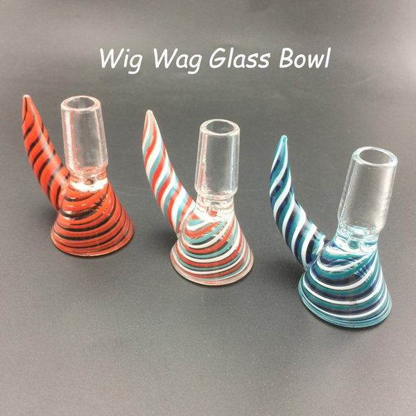 2019 New Style 3 Color Have Handle Stripe vortex Wig Wag Glass Bowls Glass Smoking Accessories Suit For Glass Bongs Water Pipes