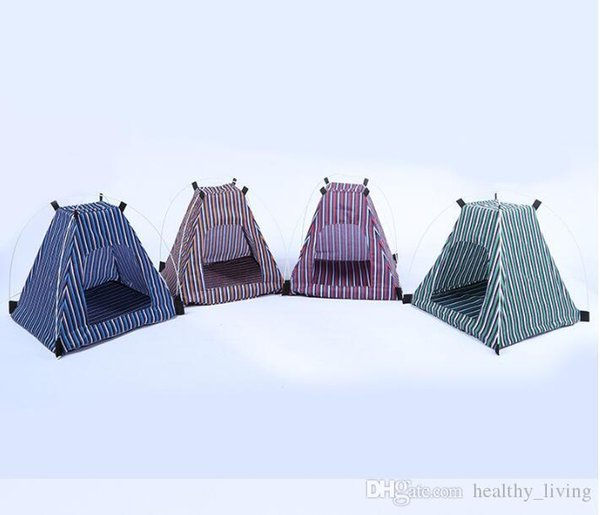 2019 Creative Portable Folding Striped Pet Tent Dog House Cage Dog Cat Tent Playpen Puppy Kennel Easy Operation Outdoor Supplies