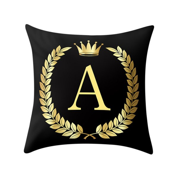 Polyester Cotton Throw Pillows Black And Gold A To Z Letter Alphabet  Printed Cushion Cover Decorative Pillows Pillow Case Q4 Replacement  Furniture ...