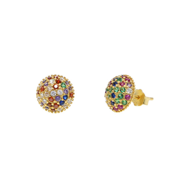 geometric ball round stud earring 2019 women fine 925 sterling silver colorful rainbow cz paved classic simple fashion jewelry