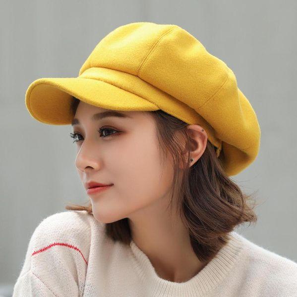 Outono de moda popular e lã de inverno chapéu octagonal, boina da senhora, tampa bud puro, Inglês duck cap língua forma menina nua