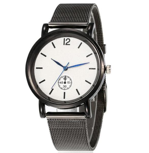 Casual simple alloy mesh belt watch student creative three-pin cool black quartz watch male